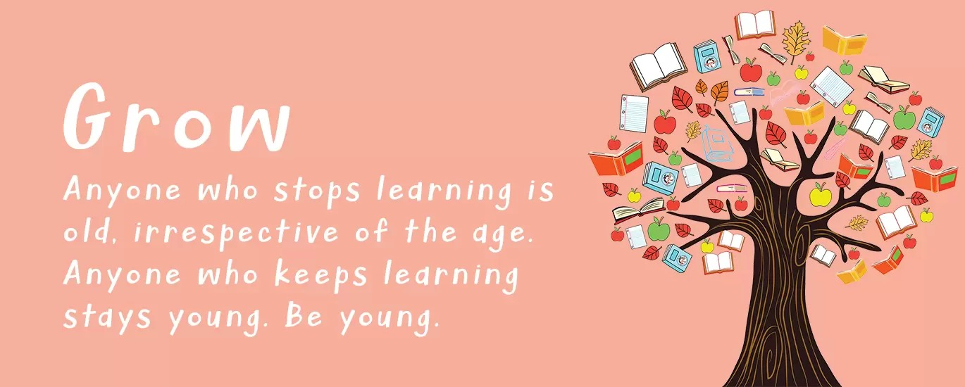 Grow anyone who stops learning is old, Irrespective of the age.